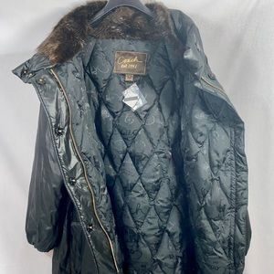 Coach Black Cocoon Down Puffer Coat w/ Beaver